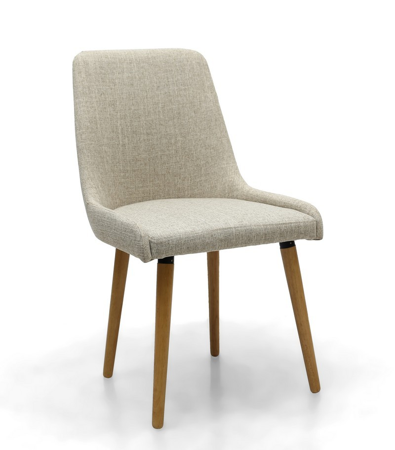 Capri natural cream fabric modern dining chair capital for Contemporary fabric dining chairs