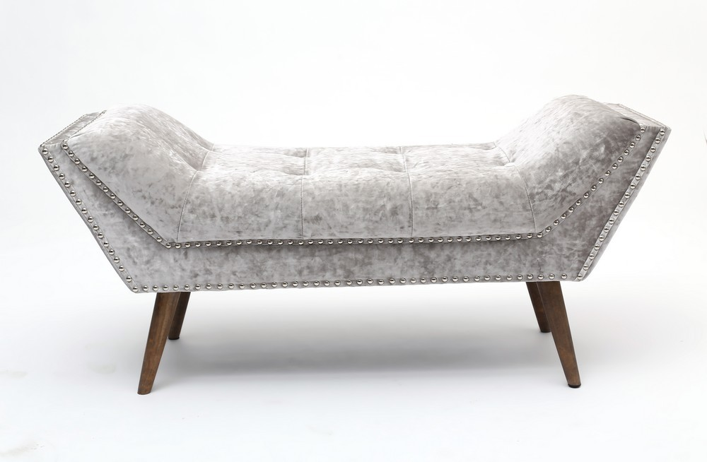 Mulberry crushed silver velvet chaise shanker mulberry for Black and silver chaise longue