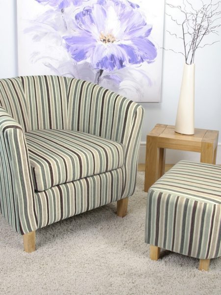 blue stripe fabric tub chair