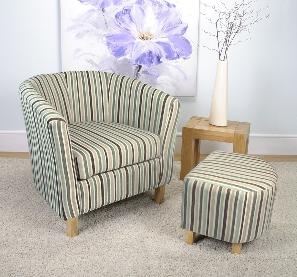 Derby Duck Egg Blue Stripe Fabric Tub Chair and Stool