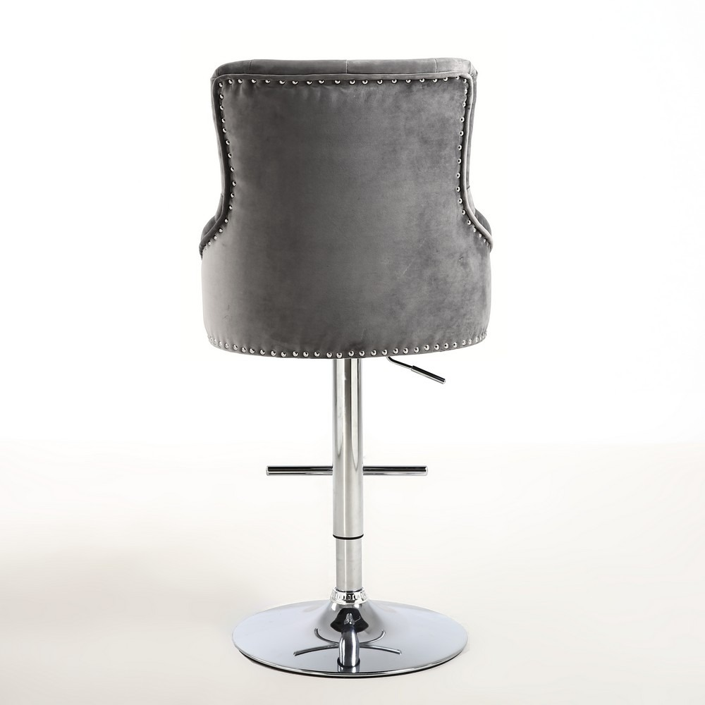 Rocco Grey Brushed Velvet Buttoned Back Bar Stool  : ROCH BS BV GREY5 from capitaldiningchairs.co.uk size 1000 x 1000 jpeg 84kB