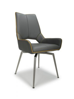 Astra SWIVEL Grey Faux Leather and Steel Modern Dining Chair