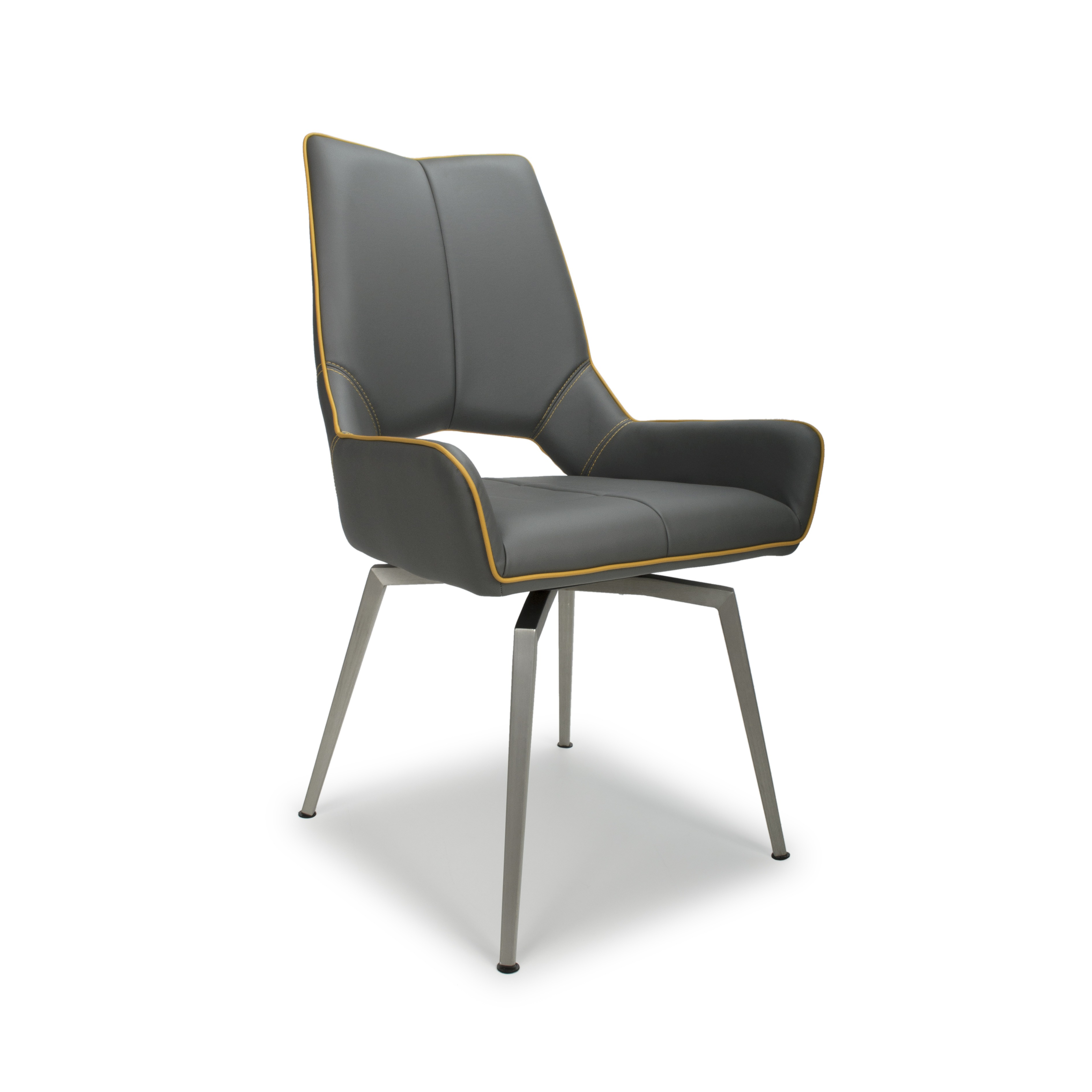 Astra swivel grey leather modern dining chair lightbox · lightbox