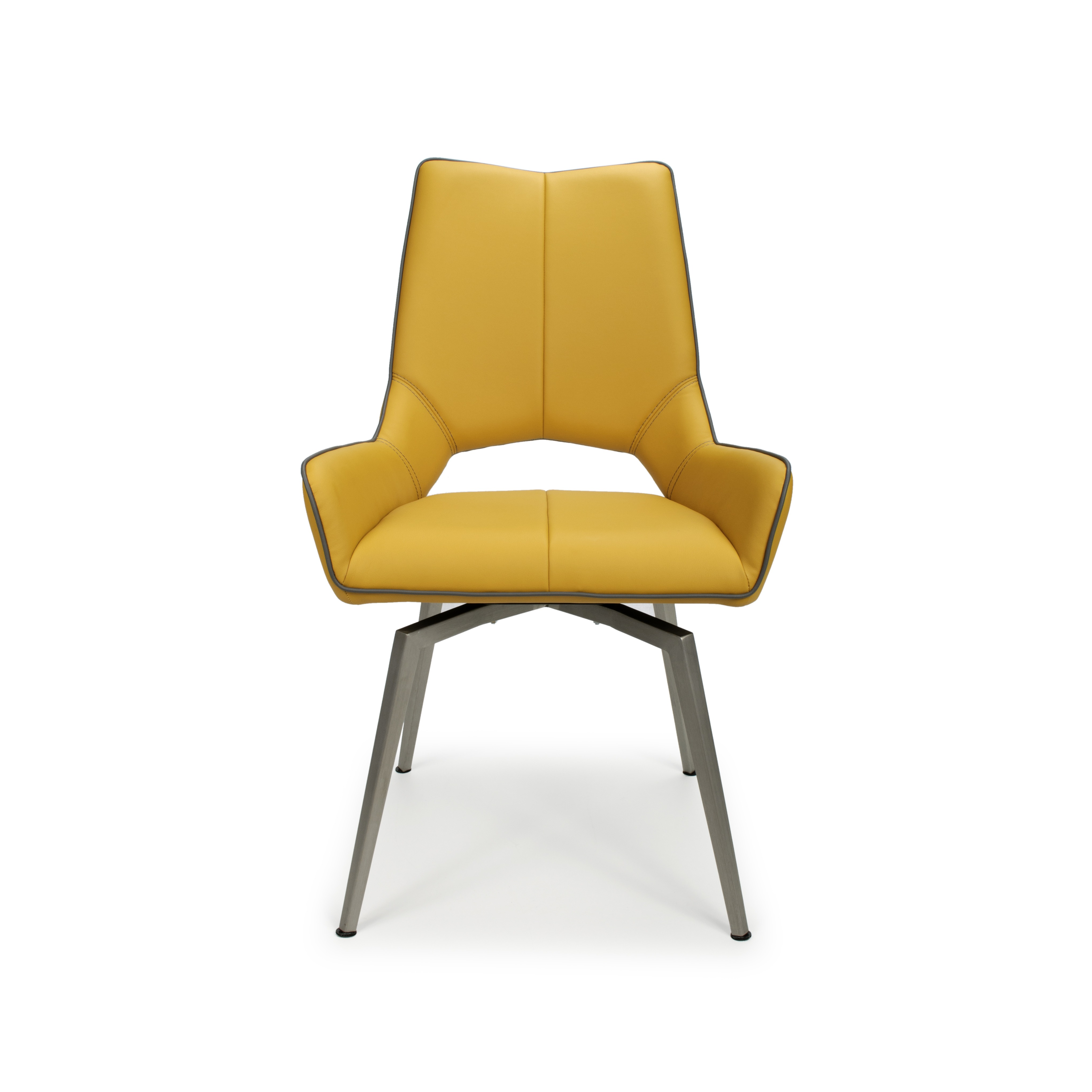 Astra swivel yellow faux leather and steel modern dining chair for Modern yellow dining chairs
