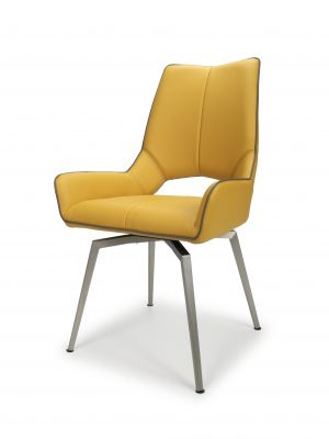Astra SWIVEL Yellow Faux Leather and Steel Modern Dining Chair