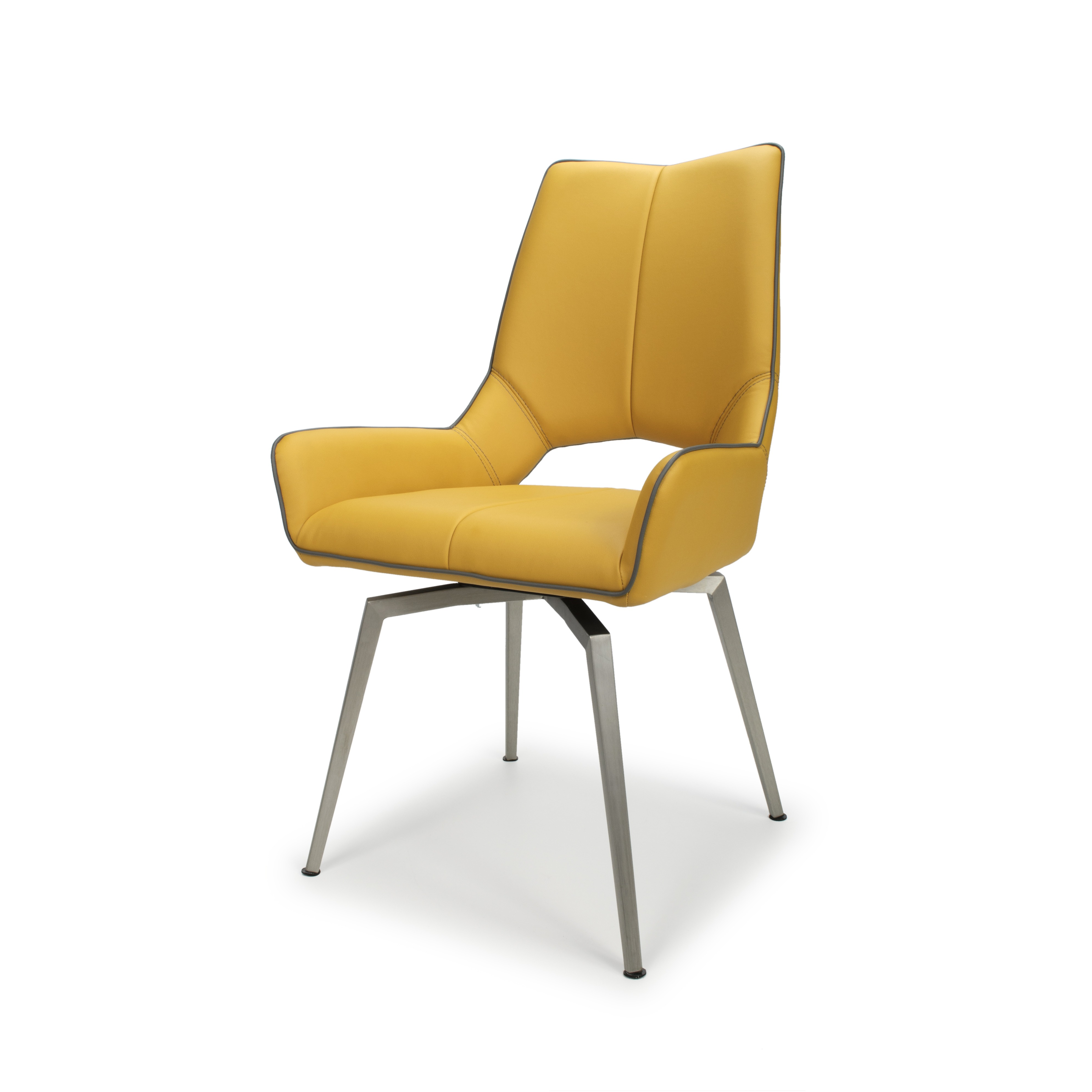 Astra swivel yellow leather dining chair lightbox · lightbox