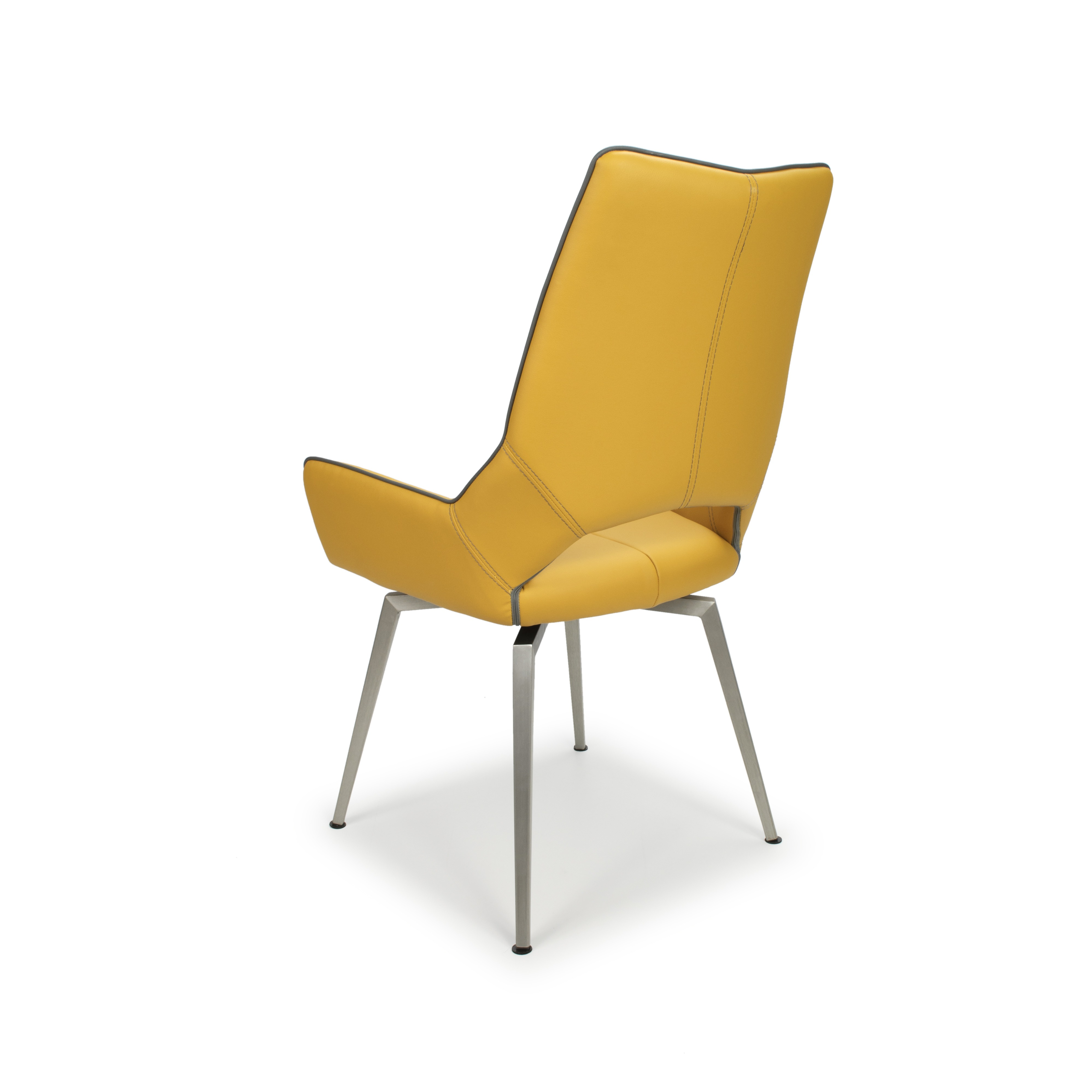 Astra swivel yellow faux leather and steel modern dining chair for Modern style dining chairs