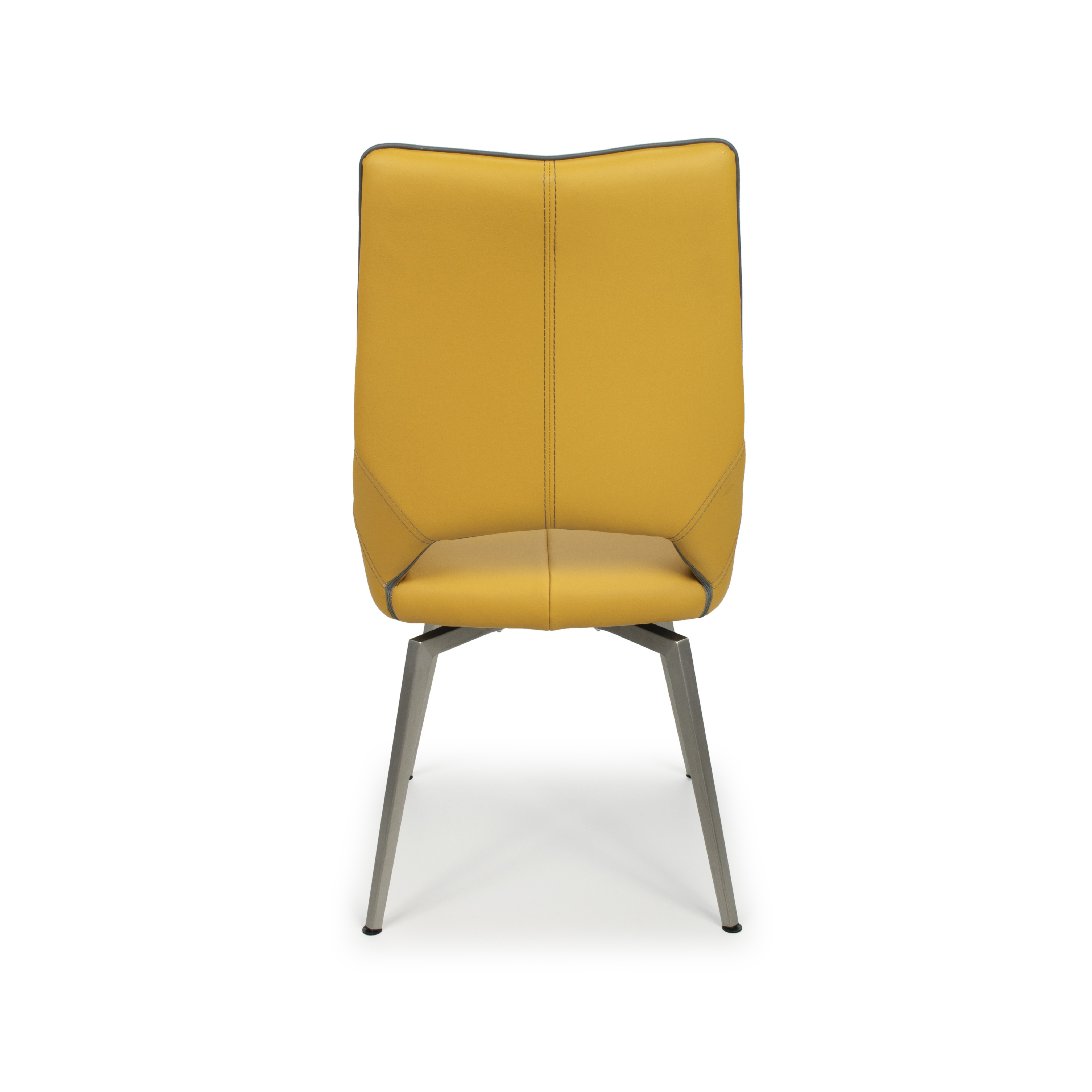 Astra swivel yellow faux leather and steel modern dining chair for Swivel dining chairs modern