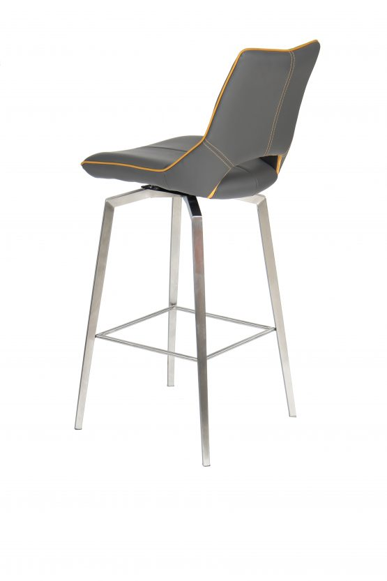 Astra Swivel Grey Faux Leather And Steel Modern Bar Stool