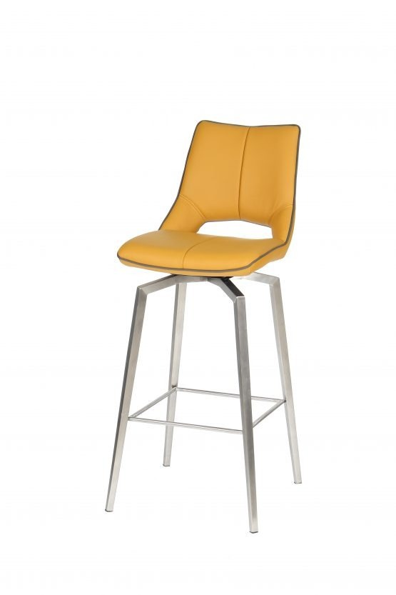 Astra Swivel Yellow Faux Leather And Steel Modern Bar Stool