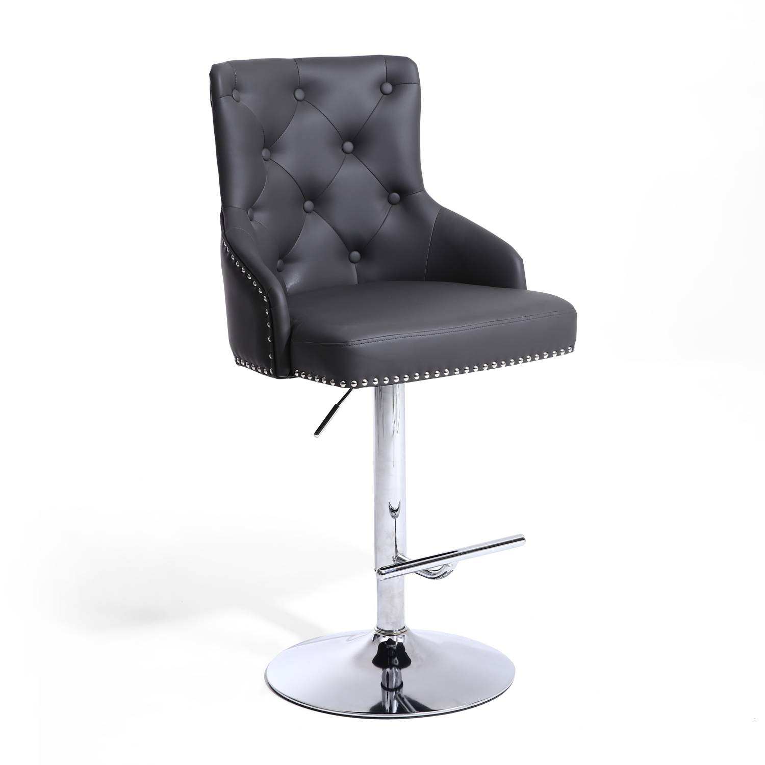 Rocco Grey Leather Buttoned Back Bar Stool Shankar Rocco
