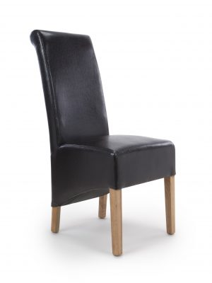 Krista Black Leather Dining Chairs