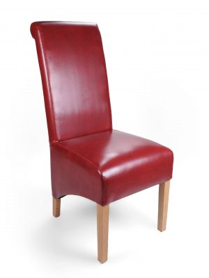 Krista Burgundy Red Leather Dining Chairs