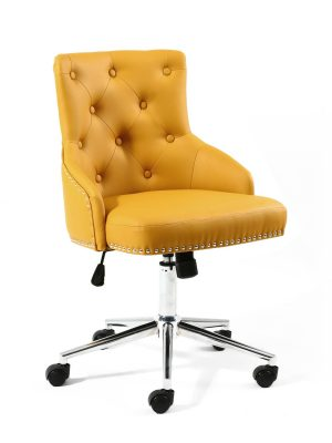 Brent Yellow Faux Leather Office Chair